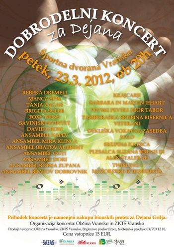 Dobrodelni koncert za Dejana