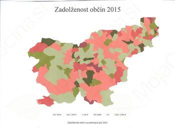 Infografika o zadolženosti občin v letu 2015