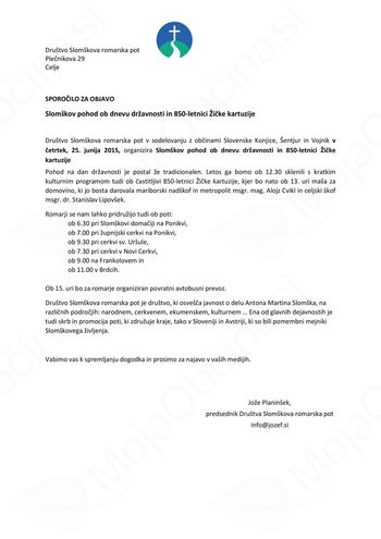 Slomškov pohod ob dnevu državnosti in 850-letnici Žičke kartuzije