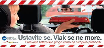 Varnost na nivojskih prehodih ceste čez železniško progo »Ustavite se. Vlak se ne more.«