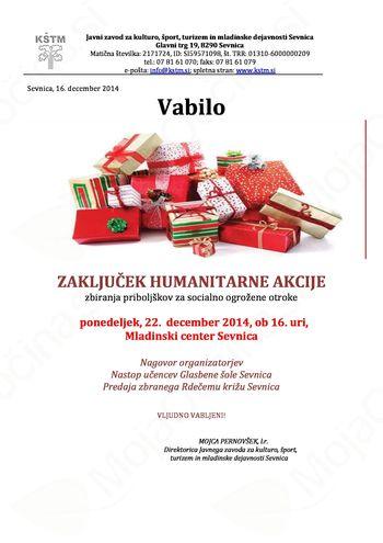 Humanitarna akcija - prireditev ob zaključku akcije