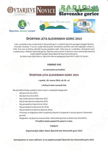 ŠPORTNIK LETA SLOVENSKIH GORIC 2015