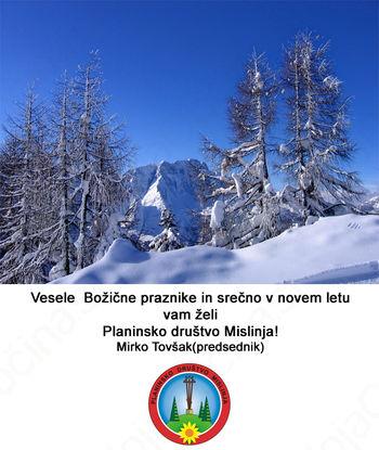 Voščilo planinskega društva Mislinja