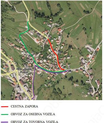 Obvestilo o zapori občinske ceste vrh Hriba