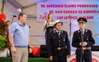 Predaja ključa novega vozila (župan Anton Leskovar, poveljnik PGD Jablane Anton Peršuh in šofer Denis Hergan)