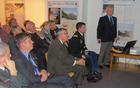 Zgodbo Američanov na Mangartu je zbranim predstavil soavtor razstave, brigadir Janez Kavar (foto Media butik)