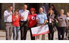 Projekt Radi delamo dobro je s svojim obiskom počastil tudi župan. Povsem na levi je predstavnik Mercatorja.
