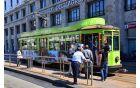 Tramvaj po ulicah Milana v znamenju soške fronte. Foto: Spirit Slovenija