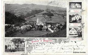 Razglednica, ki prinaša pozdrave iz Blagovice, je bila odposlana 23. avgusta 1903. Prikazane so še Novakova, Pavličeva in Cerarjeva gostilna ter prodajalna Vidali. Original hrani Knjižnica Domžale.