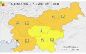 Za večji del Slovenije je v petek izdano oranžno opozorilo pred mrazom in vetrom. (Foto: meteo.si)