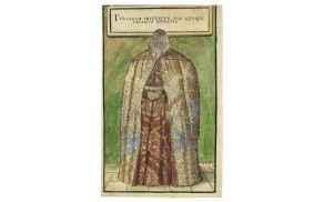 Portret Žige Herbersteina v ceremonialnih oblačilih, ki mu jih je podaril sultan Sulejman Veličastni na pogajanjih leta 1541 (Gratae posteritati, 1560). Foto: Knjižnica Ivana Potrča Ptuj