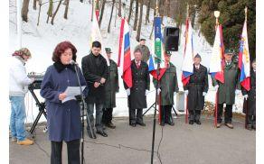 Osrednja govornica Andreja Stopar, predsednica Združenja za ohranjanje vrednot NOB Vojnik - Dobrna.