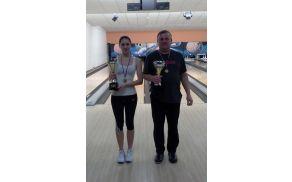 Prvaka bowling lige Tjaša Vehovec in Zdravko Kovačič