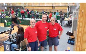 Franc Penšek, Boris Pušnik in Alojz Ocepek iz DI SG na odprtem DP v namiznem tenisu