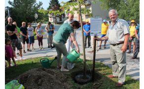 Drevo so posadili gospa Lidija Eler Jazbinšek, Jože Žlavs, in drudi zaslužni krajani, sodelujoči pri projektu (Foto: Lea Sreš)