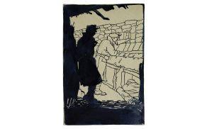 Brez naslova (Vojaka na straži), 1916, tuš/papir, 18 x 12 cm