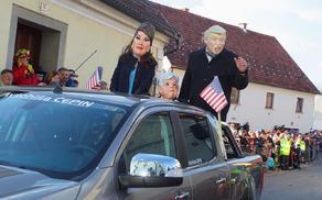 Donald Trump in Melanija v kostumih KUD Nova Cerkev