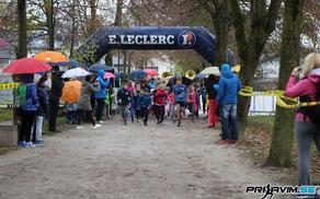 Start otroškega teka na 3. teku Občine Mengeš, 5. novembra 2016, v Športnem parku Mengeš