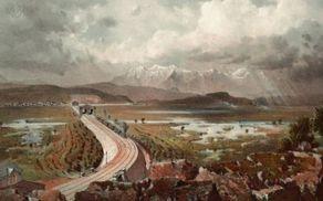 Varonijeva upodobitev nasipa železniške proge med Notranjimi Goricami in Preserjem