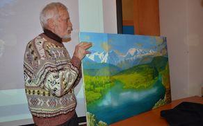 Slikar Cene Griljc je kamniško jezero upodobil na sliki.