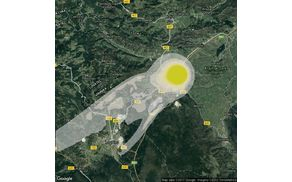 Slika ARSO: Območje največjega vpliva požara.