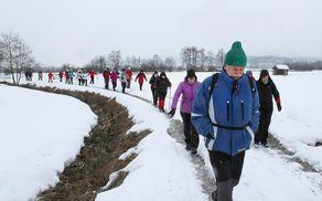 Med rahlim naletavanjem snega smo se odpravili na pohod po zamrznjenih kolovozih (foto Tatjana Rodošek)