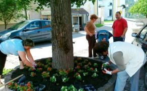 Pomladno urejanje malega trga v Novi Cerkvi