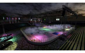 Predviden izgled hokejskega igrišča na stadionu za Bežigradom. Foto: Facebook HDD Olimpija.