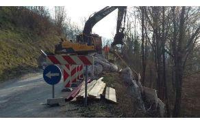 Dela na cesti Borjana - Robidišče. Foto: Simon Škvor