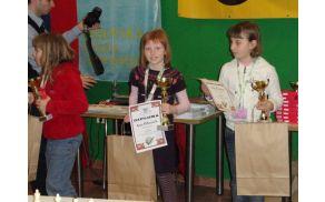 Asja Čebron (prva z desne) je na Mladinskem šahovskem prvenstvu dosegla tretje mesto. Foto: Robert Čebron.