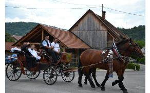 Iz kočije je novomašnik Branko pozdravljal zbrane.
