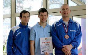 SD Marok Sevnica tretji ekipno. Levo Matej Kolman, v sredini Blaž Kunšek in desno Klemen Juvan