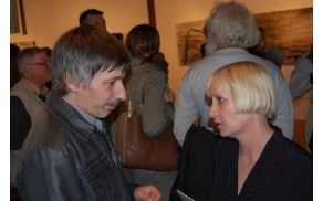 Lucijan Lavrenčič v pogovoru s kustosinjo Tanjo Cigoj