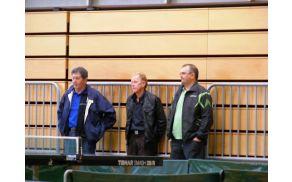 Ivan Barl, Avgust Vertačnik in Boris Pušnik na DP v namiznem tenisu v Logatcu