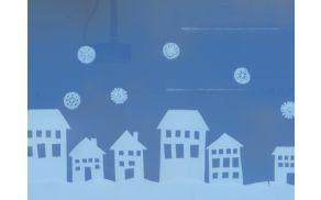 Novoletna okrasitev oken šole učencev OPB pod mentorstvom Marije Drnolšek.