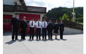 Predstavniki PGD Ribno z delegacijo GZ Slovenije ter predsednikom in poveljnikom GZ Bled-Bohinj