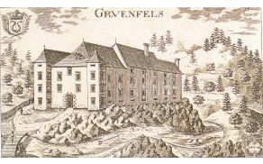 Valvasorjeva upodobitev iz leta 1688 kaže dvorec Gruenfels kot imenitno plemiško stavbo.
