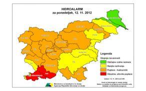 Hidroalarm za ponedeljek, 12. november 2012. (Foto: Arso)