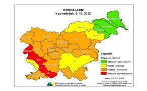 Rdeči alarm ARSO za Posočje, Goriško in Vipavsko. Vir: Spletna stran ARSO