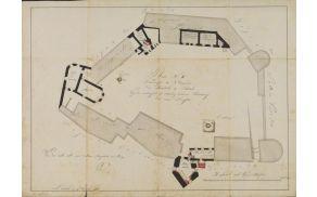 Tloris pritličja gradu z zapori, stražarnico, kapelo, pralnico in sušilnico; 1815 (ZAL)