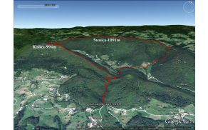 Satelitski posnetek Stenice in Kislice s Špičastim vrhom in z vrisano krožno pešturo