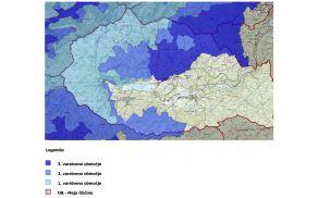 Karta TNP s spremembami varstvenih območij za območje občine Bohinj.