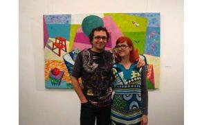 Polona in David ob odprtju razstave