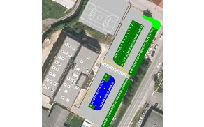 Modre cone bodo zarisali na delu parkirišča pred samim objektom Kulturnega centra Vrhnika.