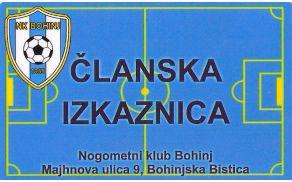 Članska izkaznica NK Bohinj.
