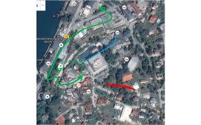 Rdeča črta: območje POPOLNE ZAPORE Zelena črta: območje DVOSMERNEGA obvoza za vozila stanovalcev in gostov v Želečah, črtkana črta samo ENOSMERNO Modra črta: območje dostave za Hotel Golf