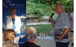 """Na """"evrodogodku"""" v Ohonici so mnogi govorili, še največ pa je povedal predsednik sadjarjev Rudi Cerk."""