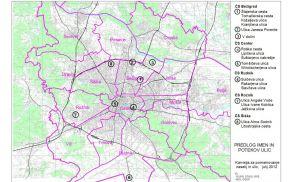 Pregledna karta Mestne občine Ljubljana s predstavitvijo ulic in mostov glede na lego v četrtnih skupnostih, ki so predmet predhodnega posvetovanja in razgrnitve predlogov imen.