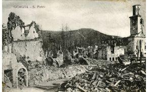 Razgednica porušenega Šempetra med 1. svetovno vojno.