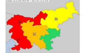 Rdeči alarm za nedeljo, 11. novembra 2012. (Foto: Arso)